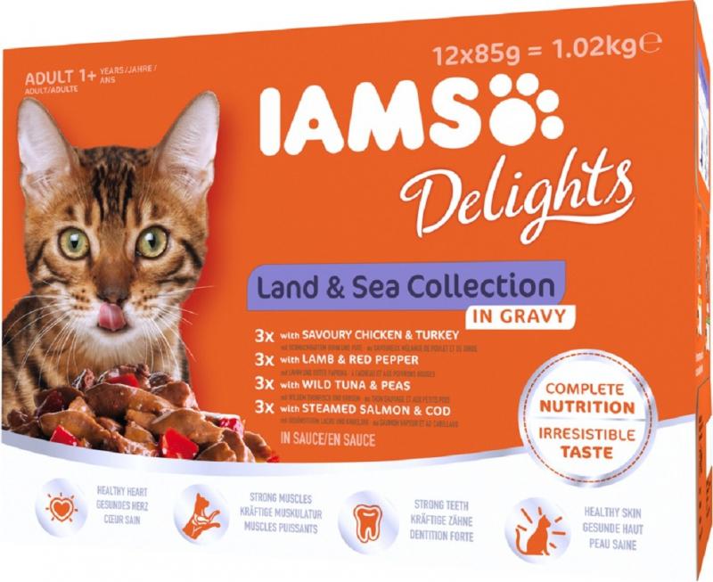 IAMS Sachets Fraîcheur Delights Land & Sea en Sauce pour Chat Adulte - 12x85g