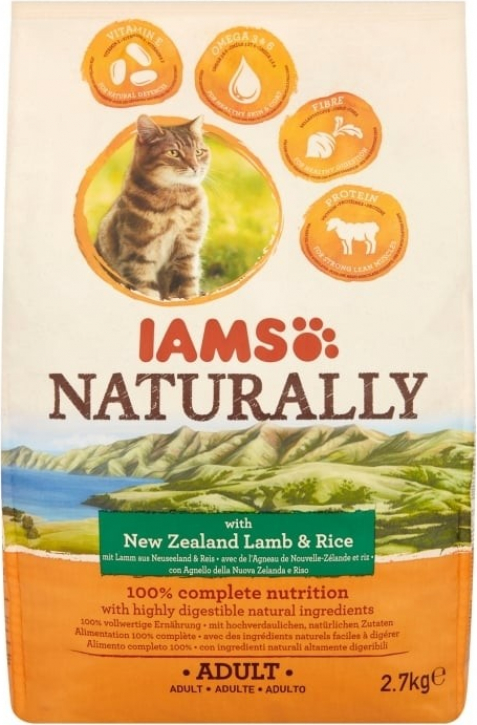 IAMS Naturally New Zealand Lamb & Rice pour Chat Adulte