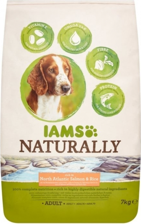 IAMS Naturally Saumon de l'Atlantique et Riz pour Chien Adulte