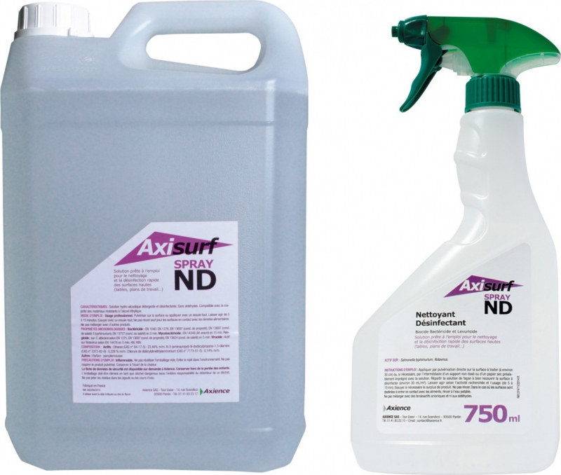 AXIENCE Axisurf ND Spray - Solution hydro-alcoolique nettoyante et désinfectante