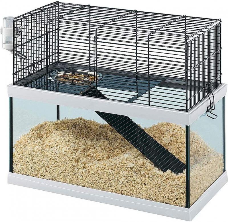 Glazen kooi Gabry, van 50 tot 80 cm, voor kleine knaagdieren