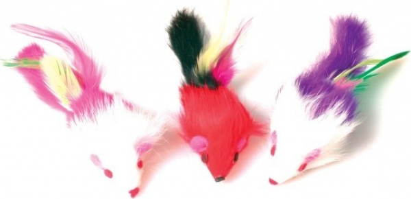 Kattenspeelgoed Trio muizen met pluimen 11 cm