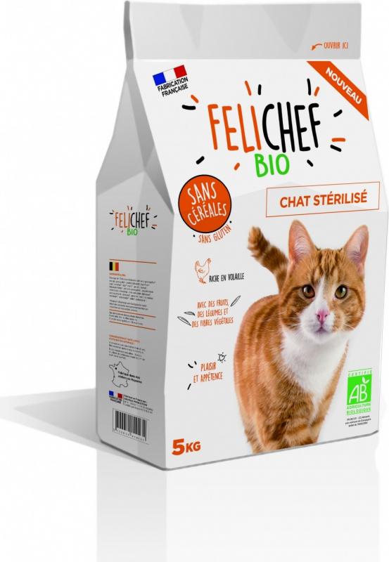 felichef bio croquettes bio sans c r ales pour chat sterilis
