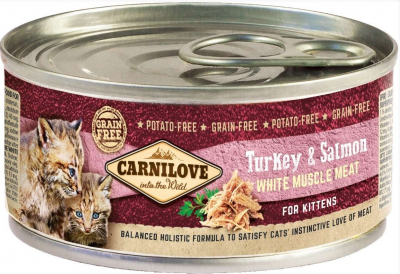 Patè Carnilove Kitten Tacchino & Salmone 100g per Gattini