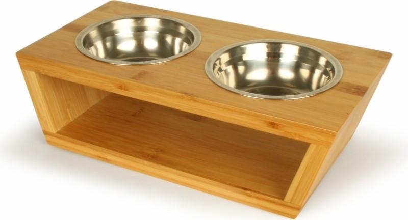 Set de gamelles Panda-Bowl avec support tendance en bambou pour petits chiens ou chats Zolia