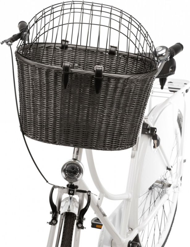 Panier avant pour vélo en rotin pour petites races de chiens
