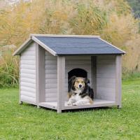 Niche pour chiens avec terrasse Lodge Natura Couleur moderne Grise