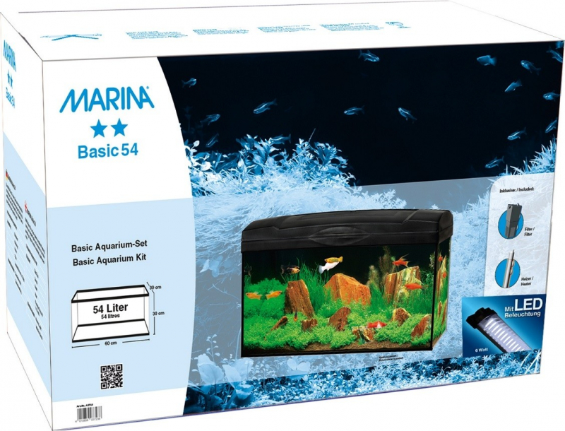 Aquarium Marina Basic LED 54L Blanc ou Noir