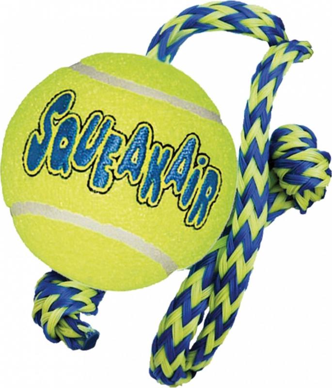 Jouet pour chien KONG Air Squeaker Tennis Ball avec corde