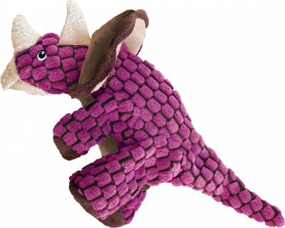 Jouet en peluche pour chien KONG Dynos Triceratops Pink - Deux tailles disponibles