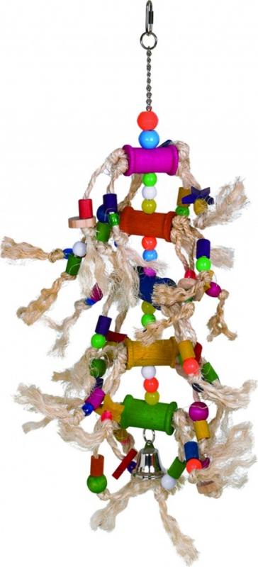 Jouet perroquet ou grande perruche multi-matières coloré corde+plastic+bois