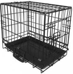 Cage de transport pliante en métal noir à 1 porte - idéale pour petits chiens