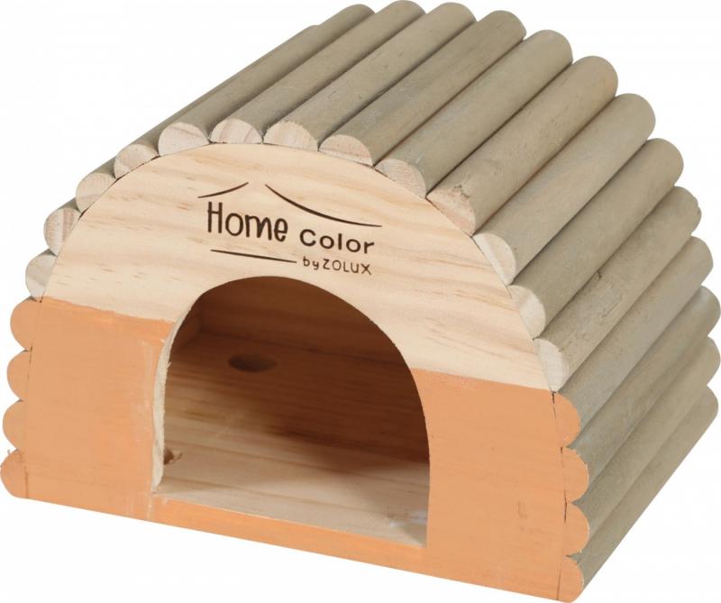 Casetta in legno per roditori tetto arrotondato tronco - Home color