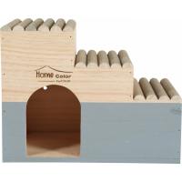 Maison en bois pour rongeur escalier rondin - Home color