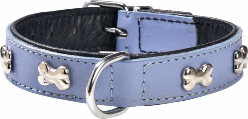 Collier pour chien en cuir Extra Souple BOBBY Bleu