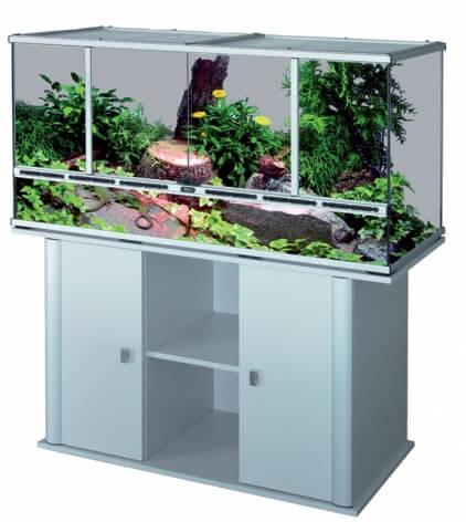terrarium gris aluminium 132x45x60 cm terrarium et meuble. Black Bedroom Furniture Sets. Home Design Ideas
