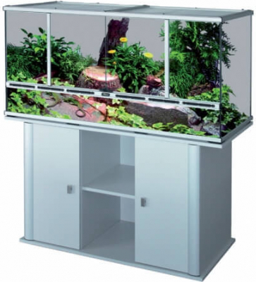 Terrarium gris aluminium 118x45x60 cm