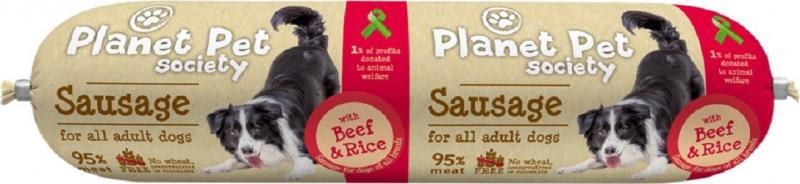 PLANET PET - Saucisson de viande au Boeuf et au Riz - 800gr