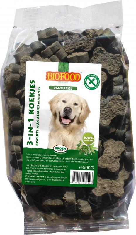 BIOFOOD Biscuits 3 en 1 aux Algues Marines pour Chien