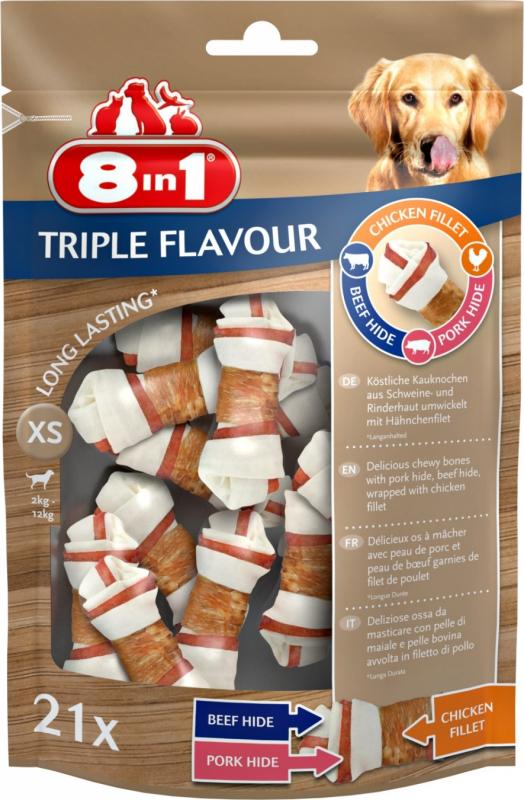 8in1 os à mâcher triple saveur - boeuf, porc et poulet