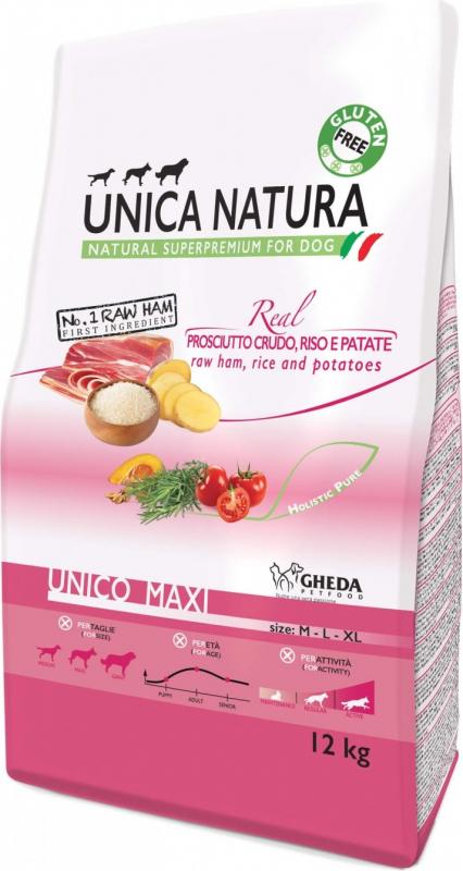 GHEDA Unica Natura Maxi au Jambon Cru pour Chien de moyenne et grande taille