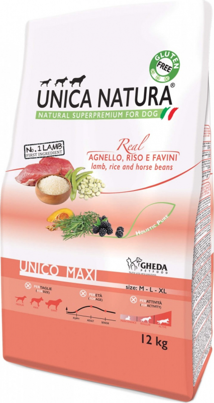 GHEDA Unica Natura Maxi à l'Agneau pour Chien de moyenne et grande taille