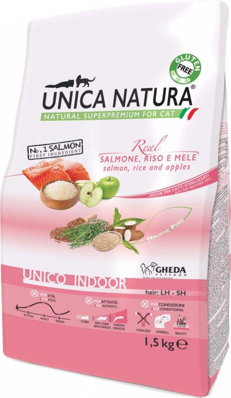 GHEDA Unica Natura Indoor Saumon & Riz pour Chat d'intérieur