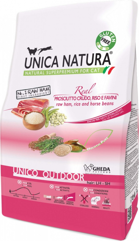 GHEDA Unica Natura Outdoor Jambon Cru & Riz pour Chat