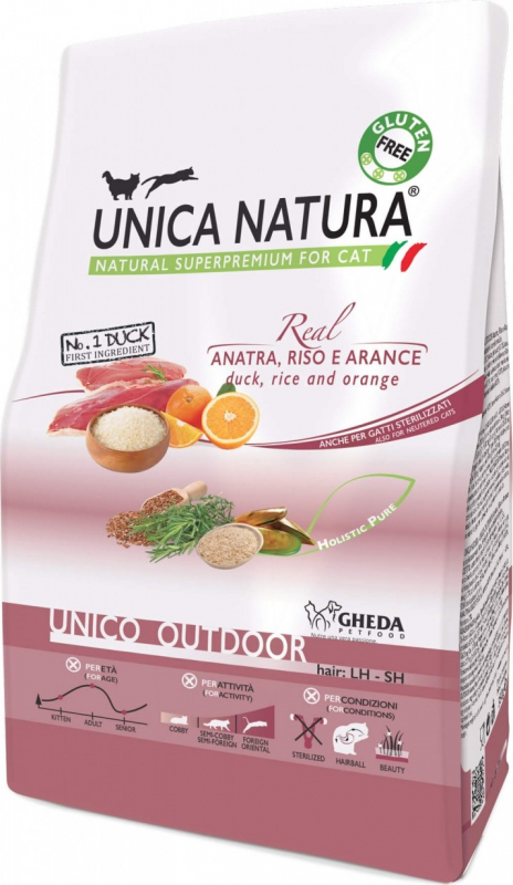 GHEDA Unica Natura Outdoor Canard & Riz pour Chat