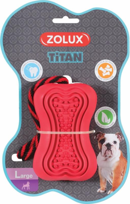 Zolux Jouet chien caoutchouc avec corde Titan rouge - plusieurs tailles