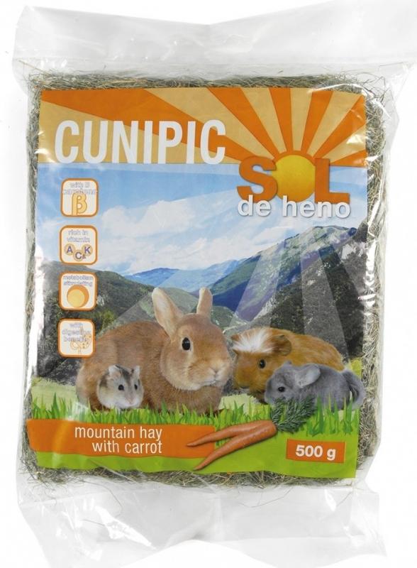 Cunipic Sol de heno Foin de montagne avec Carotte pour rongeurs et lapins