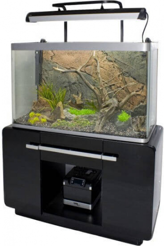 Aquarium osaka 260 glossy noir 244l avec meuble aquarium for Aquarium meuble design