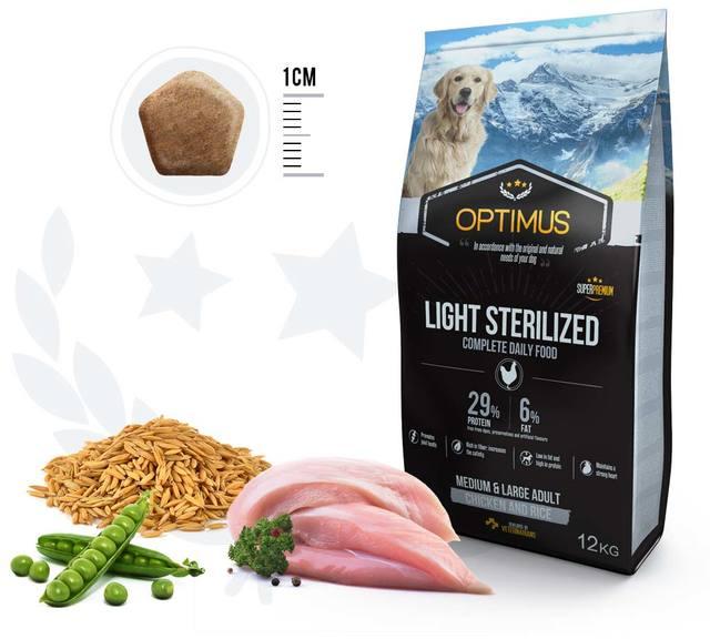 croquettes chien optimus light sterilised