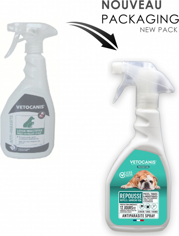 Spray antiparasitaire pour chien