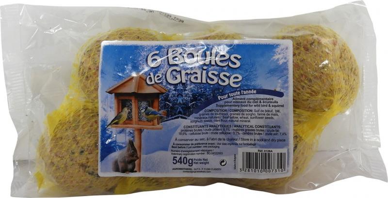 Tyrol Carton de 50 boules de graisse pour Oiseaux du Jardin