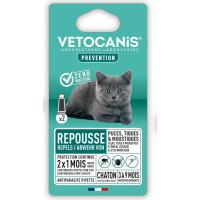 Pipettes répulsives anti-puces et anti-tiques pour chaton VETOCANIS