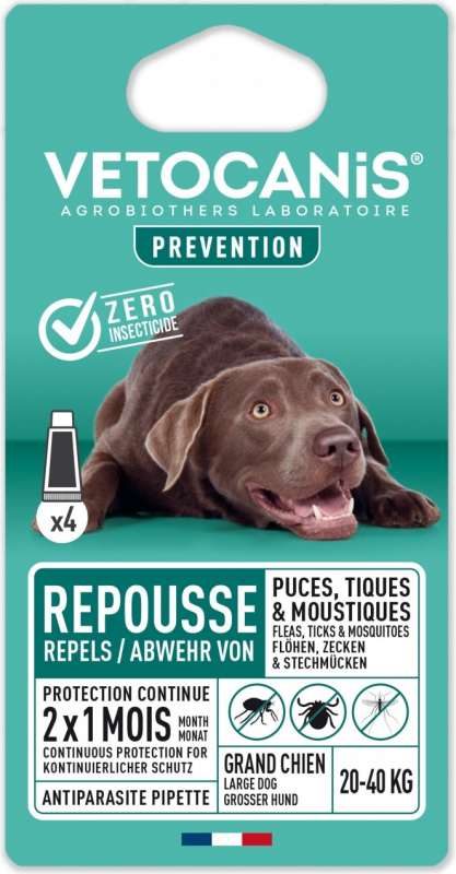Pipettes répulsives anti-puces et anti-tiques pour chien VETOCANIS