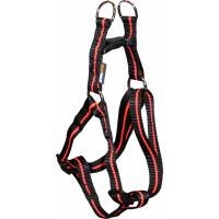 Harnais Yago en nylon noir et orange pour chien de taille moyenne