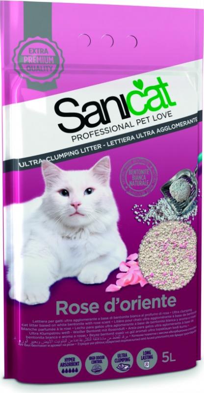 Litière bentonite pour chat Sanicat Rose d'orient Clump