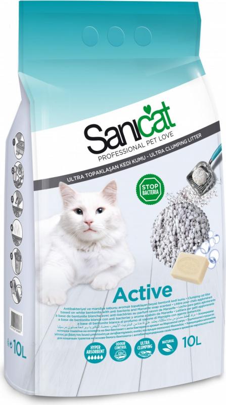 Litière parfumée pour chat Sanicat Active Ultra agglomérante et Antibactérienne