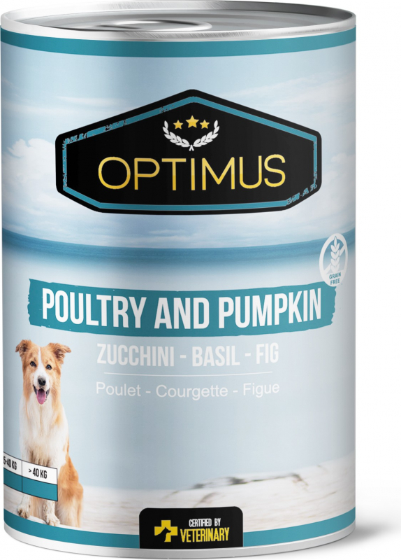 Pâtée Optimus Volaille et Citrouille, sans céréales pour chien