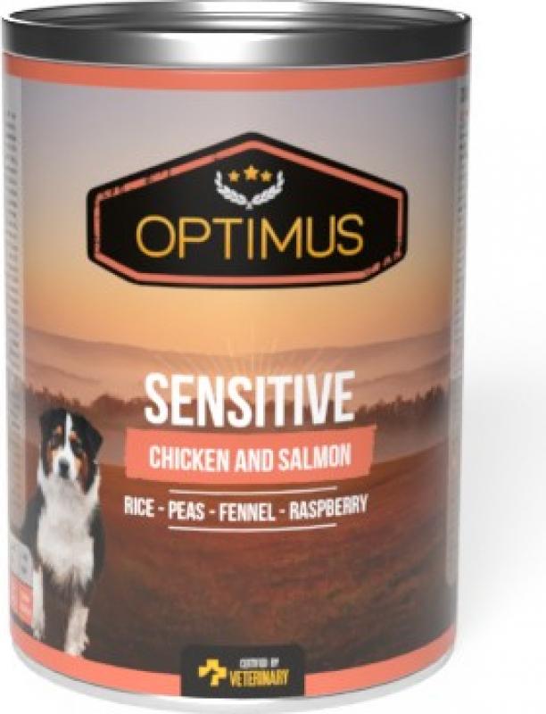 Pâtée Optimus Sensitive, Poulet et Saumon pour chien