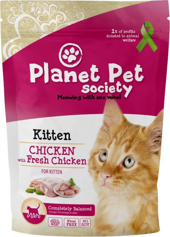 Croquettes Planet Pet avec viande fraiche pour chaton au poulet