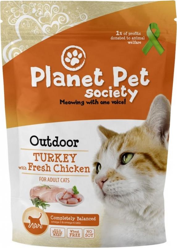 Crocchette Planet Pet con carne fresca per gatto all'aperto o attivo al tacchino