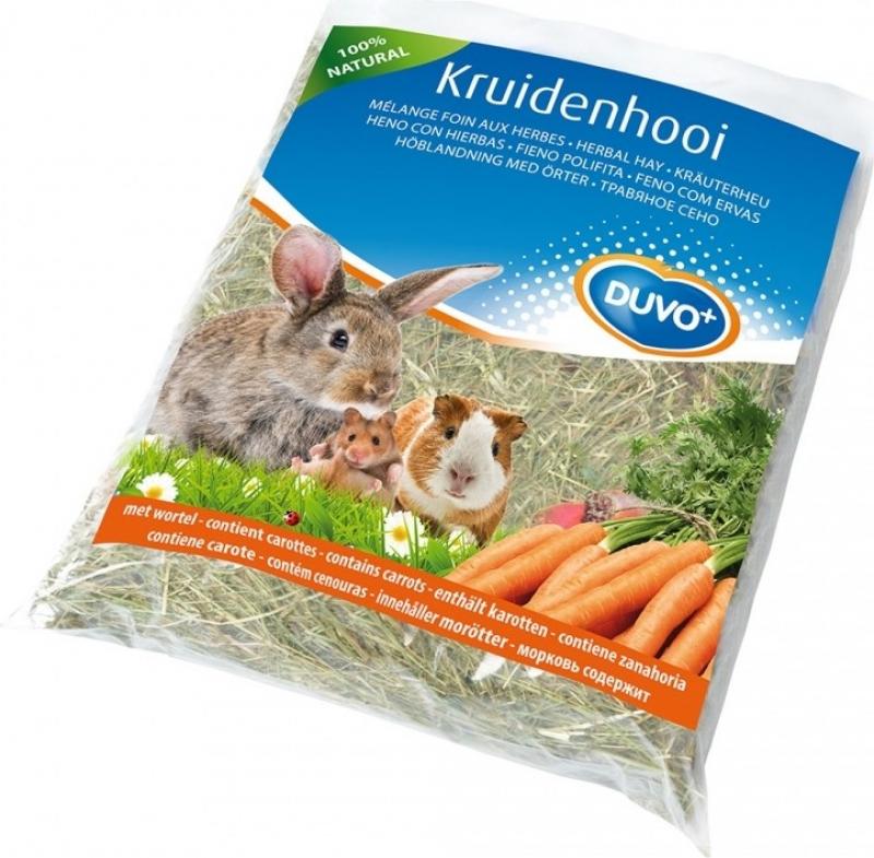 Duvo+ foin pour rongeurs à base d'herbes de rose carotte