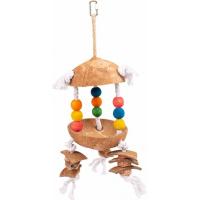 Duvo+ jouet coloré avec coco et cubes sur corde pour oiseaux