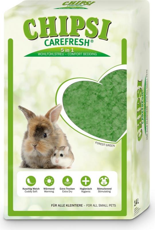 Areia Chipsi Carefresh Forest Green para pequenos mamíferos