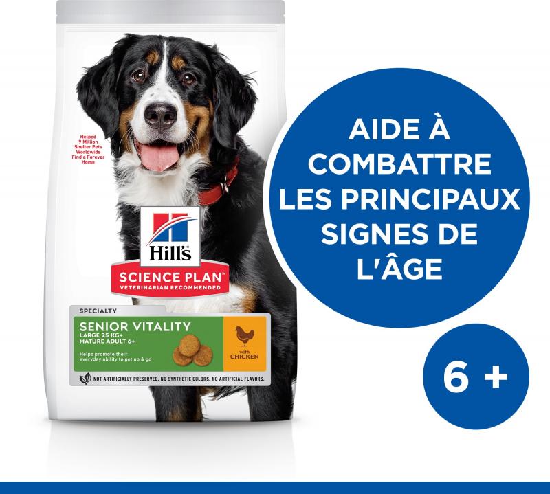 Hill's Science Plan Canine Mature Adult 6+ Senior Vitality croquettes pour chien senior de grande taille au poulet