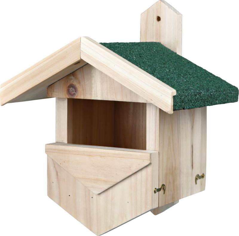 Casa de passaro para aves nidificadoras de semi-cavidades