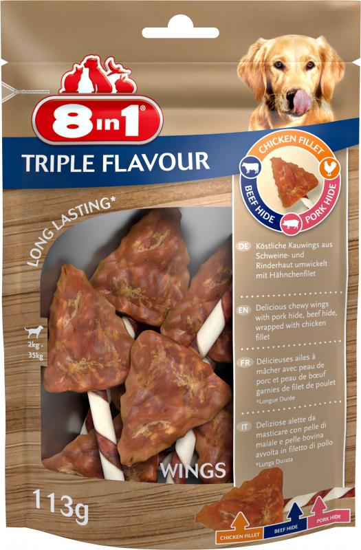 8in1 Triple Flavour Wings Ailes à Mâcher pour Chien adulte